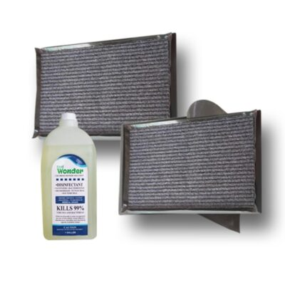 Rubber Disinfectant Foot Bath Mat Set with 1 Gallon Disinfectant
